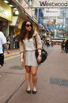 beige Esprit jacket - white H&M shorts - black Prada shoes - black Forever21 sun