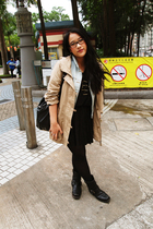 blue Zara vest - beige Esprit jacket - black H&M skirt