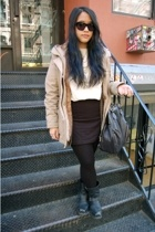 H&M skirt - Esprit jacket - Frye boots - Costume National accessories - Chloe su