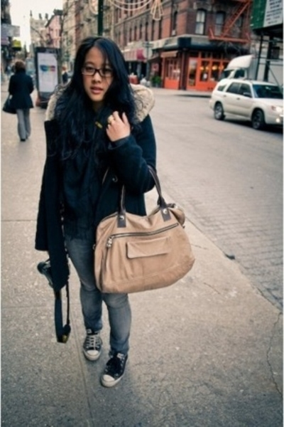 See by Chloe purse - kim chi and blue coat - Topshop jeans