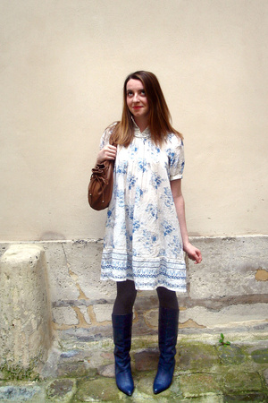 H&M dress - vintage shoes - gerard darel purse