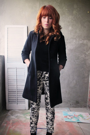 black full collar coat - toile Zara pants