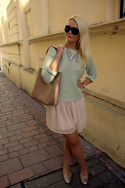 silver H&M necklace - peach H&M dress - light blue F&F sweater - camel F&F bag