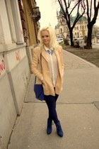 blue Tally Weijl necklace - navy Koton leggings - nude emporio armani blazer