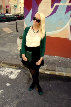 black Gucci sunglasses - eggshell asos dress - forest green thrifted sweater