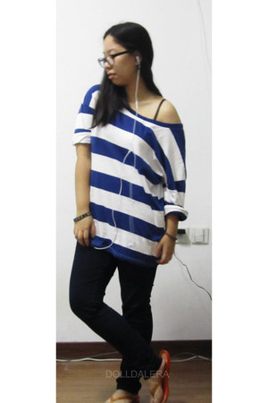 stripes top - Uniqlo pants