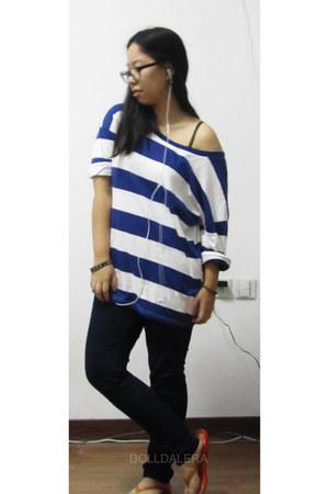 stripes top - Uniqlo pants