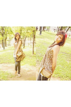 brown jacket material cardigan - mustard rubber flats shoes