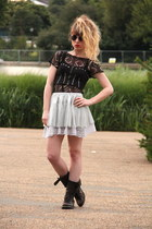 silver Only skirt - dark gray allsaints boots - black Topshop sunglasses