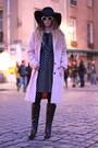 Black-pepe-jeans-boots-black-asos-dress-light-pink-vila-coat-black-h-m-hat