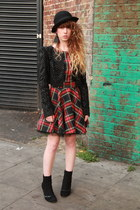 black Only One jacket - red River Island dress - black jack & jones hat