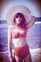 red asos swimwear - ivory Missguided hat - red Primark sunglasses