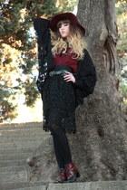 ruby red Zara hat - maroon richelieu boots - black Vero Moda cardigan