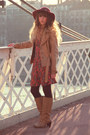 Tan-pieces-boots-hot-pink-pepe-jeans-dress-maroon-zara-hat