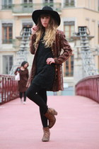 black Molly Bracken dress - bronze Bertie boots - black Monki hat