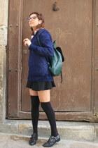 Zara sweater - dark green asos bag - black Zara skirt