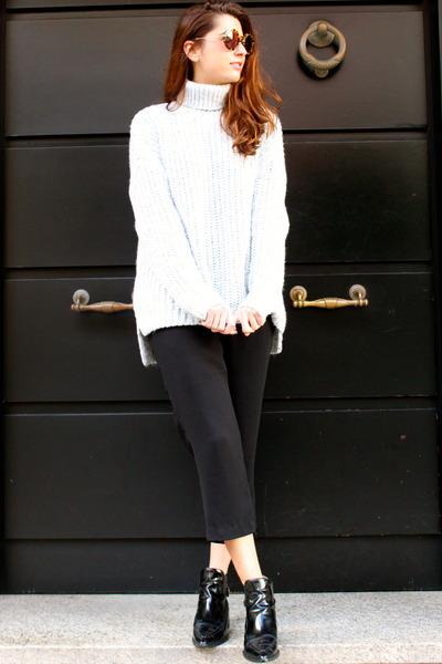 white Zara sweater - black Zara boots - black Zara romper