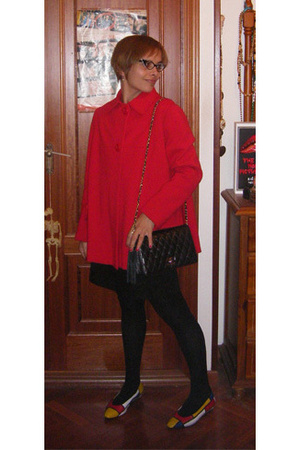 vintage coat - Pull & Bear dress - vintage ebay purse - vintage ebay shoes