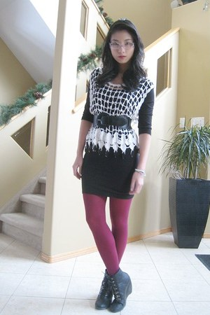 dress - top - tights - boots