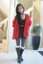 black Alfred Sung boots - charcoal gray tights - ivory socks - red cardigan - bl