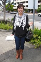 black New York and Company sweater - black Forever 21 scarf - black Aldo purse -
