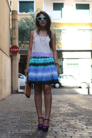 tie dye H&amp;M skirt - H&amp;M glasses - sheer Primark top - Primark heels