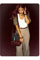 white H&M t-shirt - brown BLANCO pants - green vintage purse