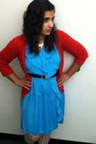 Sneaky Fox tights - polyester dress - necklace - cotton Mossimo cardigan
