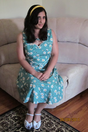 turquoise blue cotton Trollied Dolly dress - gold man made J Crew accessories