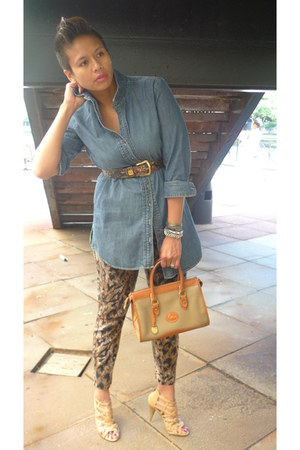 denim chicos shirt - vintage Dooney & Bourke bag - cage Aldo heels - vintage bel