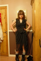 black DIY dress - black vintage boots - black Topshop purse - gray Primark socks