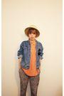 Orange-shirt-blue-jacket-green-pants-beige-hat-orange-shoes-brown-tops
