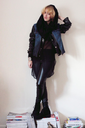 black Topshop pants - black thrifted vintage jacket - blue thrifted vintage vest