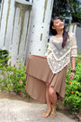 Ivory-crochet-forever21-cape-tan-skirt-mustard-pedro-sandals