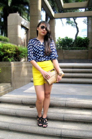 bag - yellow bysi shorts - Charles & Keith sunglasses - wedges wedges - blue pol