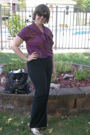purple Tucker blouse - black Gap pants - gold Aldo shoes - black B Makowsky bag