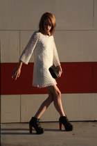 white lace Ark & Co dress - black leather Marc by Marc Jacobs bag