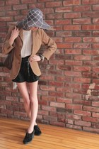 black black wedges Jeffrey Campbell shoes - floppy sun hat hat - light brown cor
