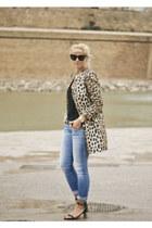 brown leopard print Zara coat - dark green metallic heel Celine sandals