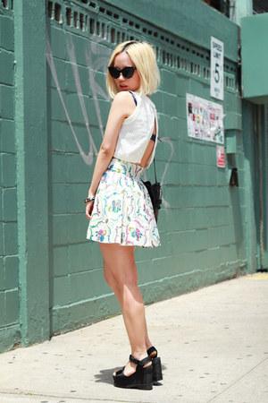 ivory skater vintage skirt - army green bucket vintage bag