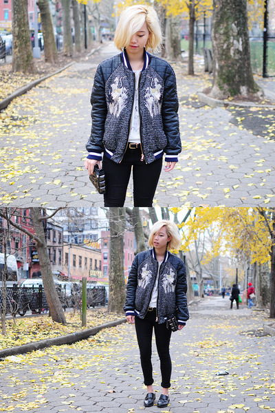 Navy-quilted-bomber-three-floor-jacket-black-studded-pixie-market-bag