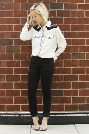black daul floral PM x Jeffrey Campbell shoes - black Uniqlo pants