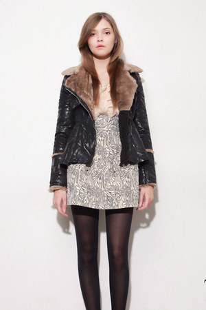 black storets jacket - light pink storets cardigan - silver storets skirt