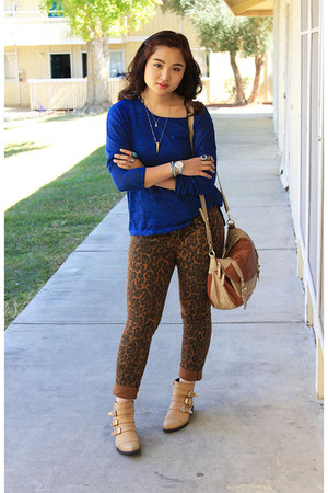 leopard print ANNA jeans - gold lace up buckles daily look boots