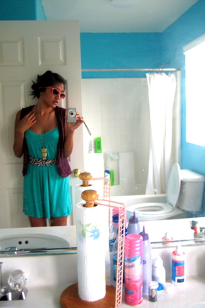 Buffalo Exchange dress - Target vest - scrap fabric belt - forever 21 sunglasses