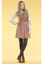 pink Nandinoo dress - heather gray Nandinoo tights - white Nandinoo blouse