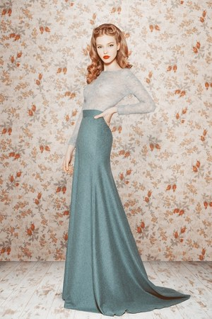 turquoise blue maxi skirt - periwinkle sweater