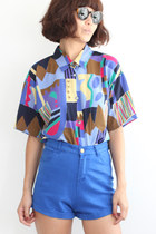 Vintage 1980s Abstract Pattern S/S Chiffon Shirt