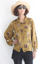 Vintage Play Cards/ Crown Pattern L/S Satin Shirt