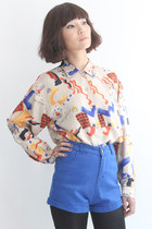 Vintage Play Card Pattern Silky Shirt